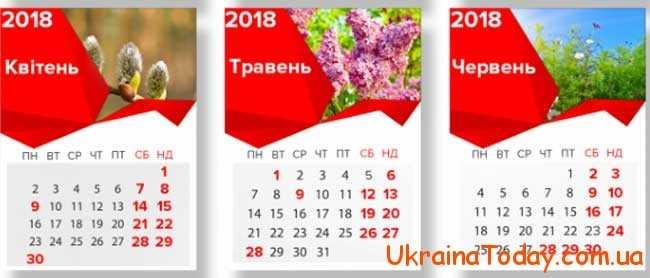 Вихідні та святкові дні у квітні 2018 року