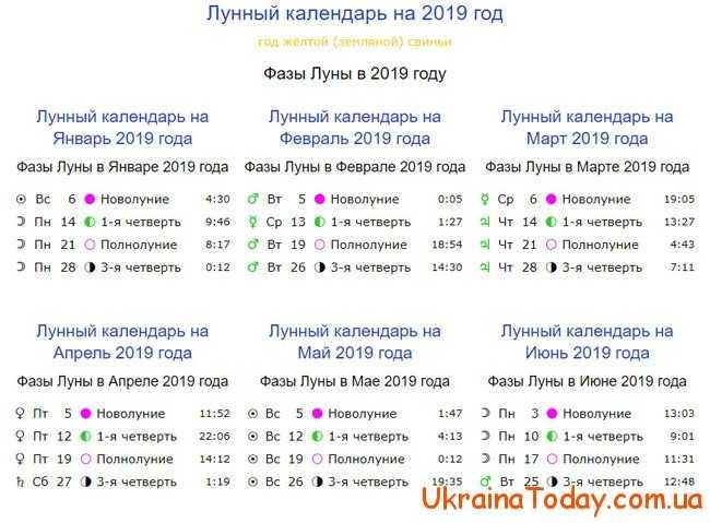 Календар місячний на 2019 рік