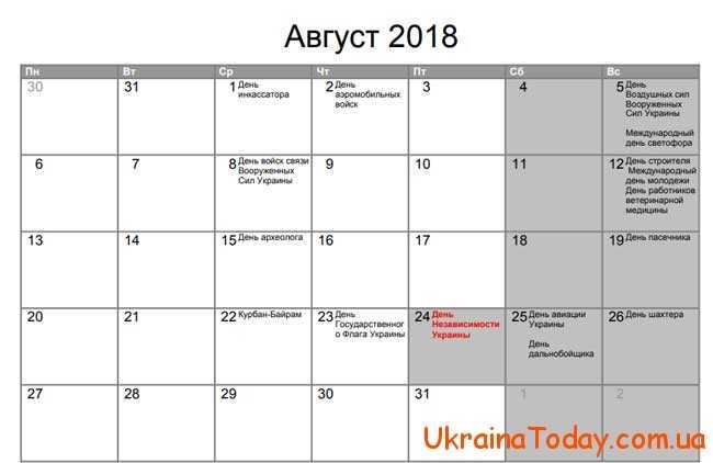 Вихідні та святкові дні у серпні 2018 року в Україні