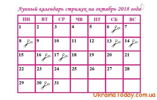 Календар фарбування волосся в жовтні 2018 року